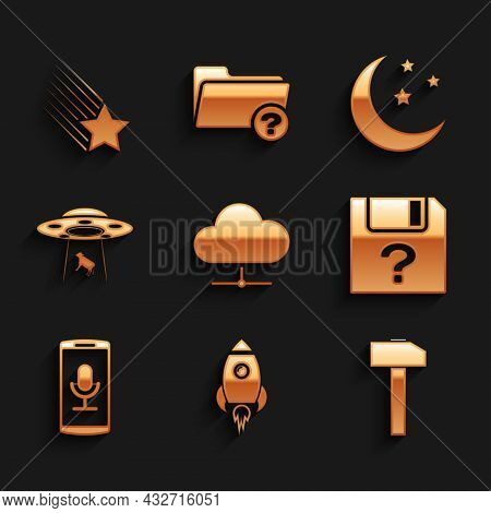 Set Network Cloud Connection, Rocket Ship With Fire, Hammer, Unknown Document, Mobile Recording And