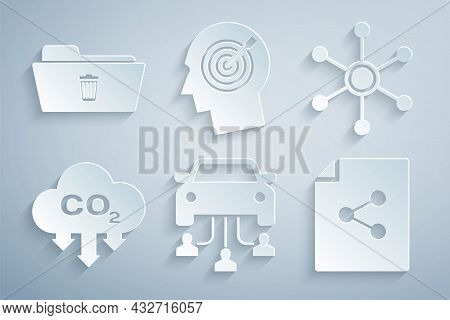 Set Car Sharing, Network, Co2 Emissions Cloud, Share File, Head Hunting Concept And Delete Folder Ic