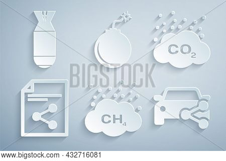 Set Methane Emissions Reduction, Co2 In Cloud, Share File, Car Sharing, Bomb Ready To Explode And Av