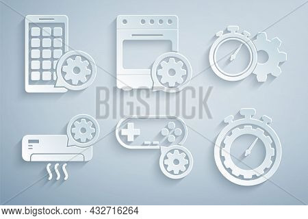 Set Gamepad Setting, Time Management, Air Conditioner, , Oven And Mobile Apps Icon. Vector