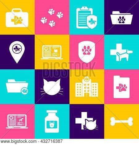 Set Dog Bone, Clinical Record Pet, Veterinary Clinic, , Cat Laptop And Location Veterinary Icon. Vec
