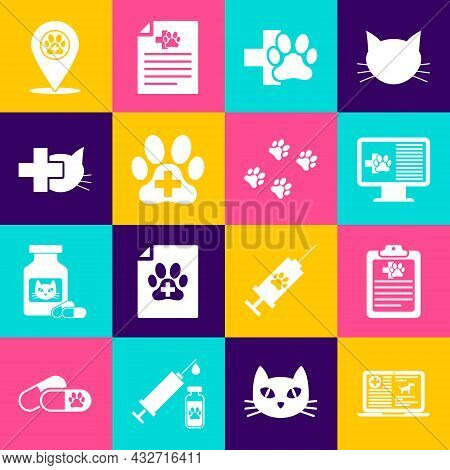 Set Clinical Record Dog On Laptop, Pet, Monitor, Veterinary Clinic, And Icon. Vector