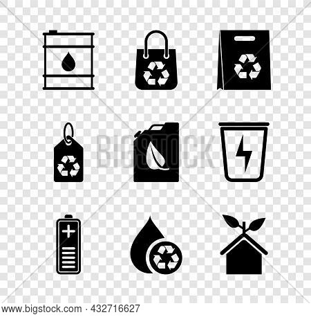 Set Oil Barrel, Shopping Bag With Recycle, Battery Charge Level Indicator, Recycle Clean Aqua, Eco F