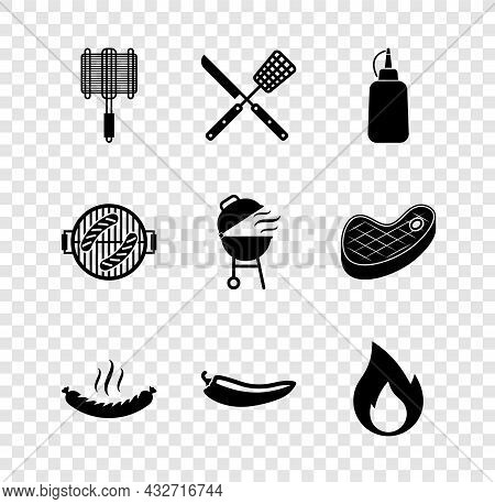 Set Barbecue Steel Grid, Crossed Knife And Spatula, Mustard Bottle, Sausage, Hot Chili Pepper Pod, F
