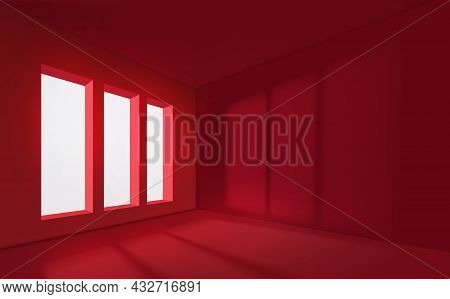 Red Empty Interior With Window. Realistic Spacious 3d Room With Large Windows. Empty Room. Window Li
