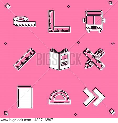 Set Tape Measure, Folding Ruler, Bus, Ruler, Open Book, Crossed And Pencil, Book And Protractor Grid
