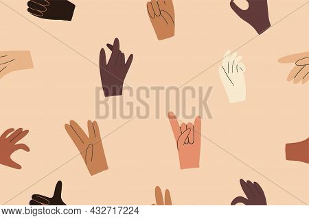 Seamless Pattern With Hands Diverse Skin Color. Symbol Of Race Equality, Diversity, Tolerance. Hand