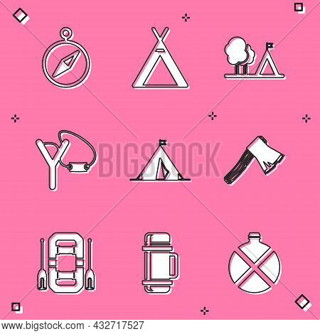 Set Compass, Tourist Tent, With Flag, Slingshot, Old Wooden Axe, Rafting Boat And Thermos Container