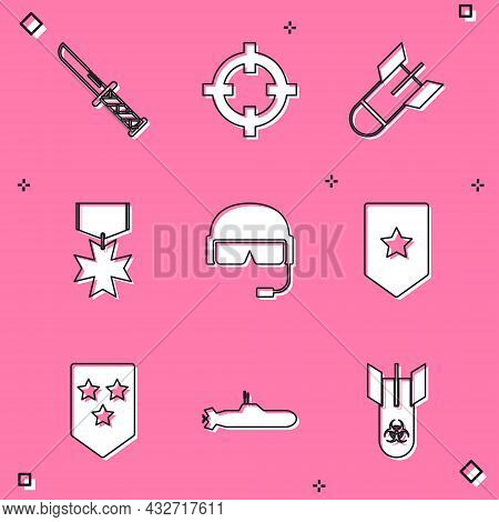 Set Military Knife, Target Sport, Aviation Bomb, Reward Medal, Helmet, Chevron, And Submarine Icon.