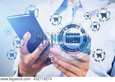 Businesswoman Wearing White Shirt Is Holding Smartphone With Interface With Icons Of Credit Card And