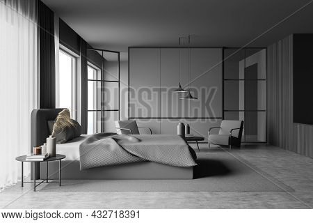 Stylish Grey Bedroom Interior With Two On Trend Pendant Lamps Over A Seating Area, Dark Wardrobe, A