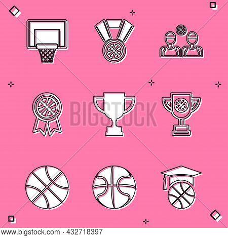 Set Basketball Backboard, Medal, Players, Award, Award Cup, With Basketball, And Icon. Vector