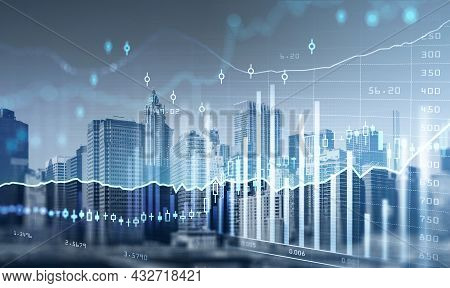 New York City Skyscrapers. Forex Financial Rising Graph And Chart With Numbers, Candlesticks, Lines