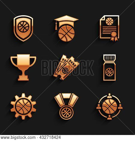 Set Basketball Game Ticket, Medal, Planning Strategy, Concept, Award Cup, Certificate Basketball Awa