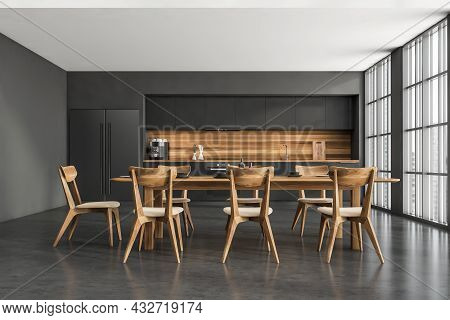Front View On Kitchen Room Interior With Concrete Floor, Empty Black Wall, Table With Chairs, Panora