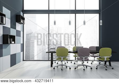 Panoramic Meeting Room With Modern Pendant Lights, Green And Violet Office Chairs, A Parquet Style F