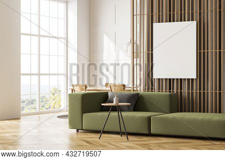Corner Of The Panoramic White Living Room Interior With A Canvas On A Partition, Curtains Behind, An