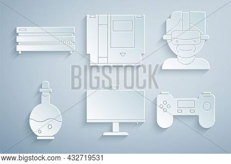 Set Computer Monitor, Virtual Reality Glasses, Bottle With Magic Elixir, Gamepad, Cartridge And Vide