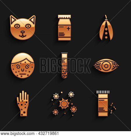Set Test Tube And Flask, Bacteria, Medicine Bottle Pills, Reddish Eye Allergic Conjunctivitis, Hand