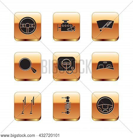 Set Steering Wheel, Windscreen Wiper, Shock Absorber, Oil Filler Cap At Gas Station, Car Mirror, And