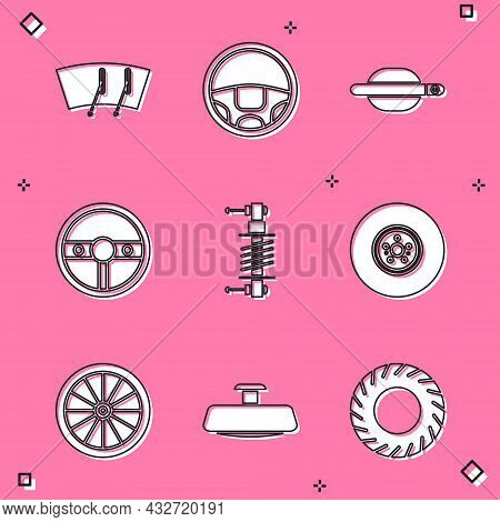 Set Windscreen Wiper, Steering Wheel, Car Door Handle, Shock Absorber, Brake Disk, And Mirror Icon.