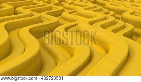 Striped Background In Perspective View. Golden Striped Texture. 3d Illustration