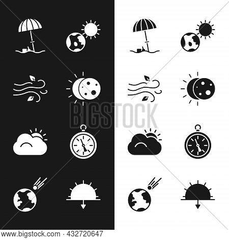 Set Eclipse Of The Sun, Wind, Sun Protective Umbrella For Beach, Earth Globe And, Cloud, Compass, Su