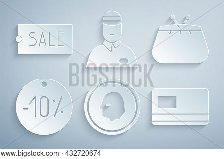 Set Coin Money, Wallet, Ten Discount Percent Tag, Credit Card, Seller And Price With Text Sale Icon.