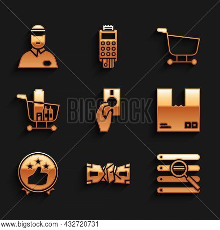Set Hand Holding Money, Crumpled Paper Cash, Search Browser Window, Cardboard Box With Traffic Symbo
