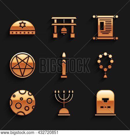 Set Burning Candle, Hanukkah Menorah, Tombstone With Rip Written, Rosary Beads Religion, Moon, Penta