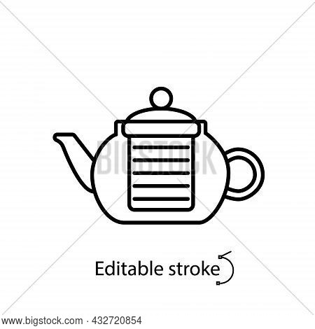 Coffee And Tea Glass Kettler Outline Icon. Teapot, Brewer. Coffee Shop Professional Tool. Customizab