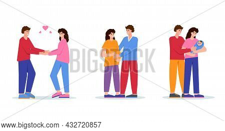 Family And Childbirth Concept. Stages Of Family Development. Young Couple In Love, Pregnant Woman Wi