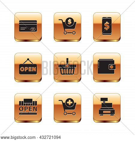 Set Credit Card, Shopping Building And Open, Add To Cart, Basket, Hanging Sign With Open, Smartphone