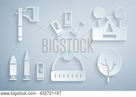 Set Winter Hat, Tourist Tent, Bullet And Cartridge, Tree, Cartridges And Wooden Axe Icon. Vector