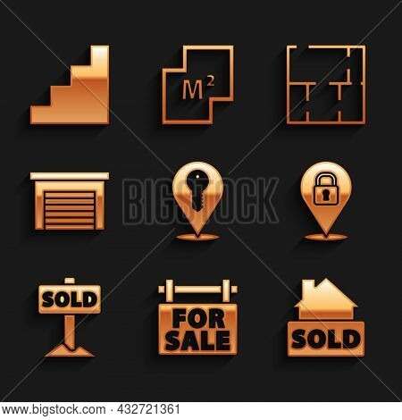 Set Location Key, Hanging Sign With For Sale, Text Sold, Lock, Garage, House Plan And Staircase Icon