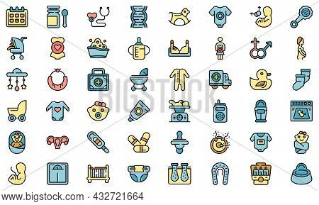 Maternity Icons Set. Outline Set Of Maternity Vector Icons Thin Line Color Flat Isolated On White
