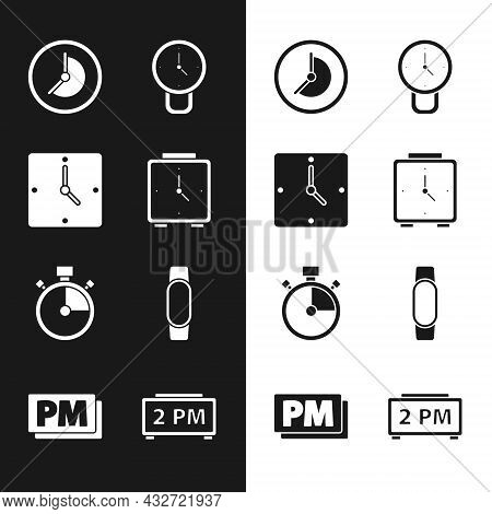 Set Alarm Clock, Clock, Stopwatch, Smartwatch, Digital Alarm And Pm Icon. Vector