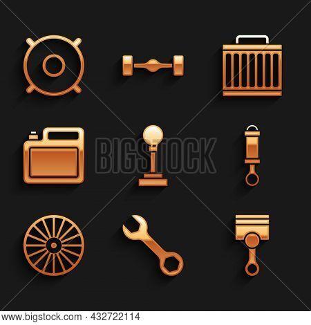 Set Gear Shifter, Wrench Spanner, Engine Piston, Shock Absorber, Alloy Wheel, Canister For Motor Oil
