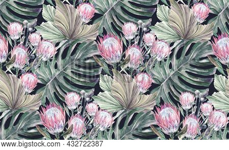 Seamless Watercolor Pattern With Herbarium And Dried Protea Flowers And Monstera Leaves On Dark Gree