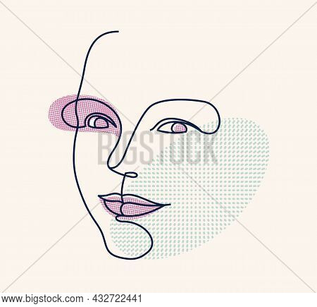 Abstract Face Girl Vector Portrait, Abstraction Art Woman Head, Hand Drawn Minimal Modern Artwork, P