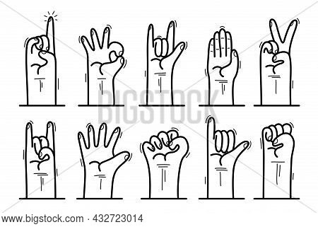 Set Of Hand Signs Gestures Vector Icons Set Isolated, Hard Rock, Attention And Idea Pointing Finger
