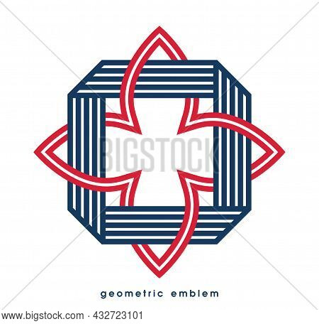 Abstract Geometric Flower Vector Symbol Isolated On White, Line Art Geometrical Shape Emblem Or Icon
