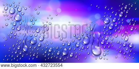 Water Rain Drops Or Condensation Over Blurred Night City Background Beyond The Window, Realistic Tra
