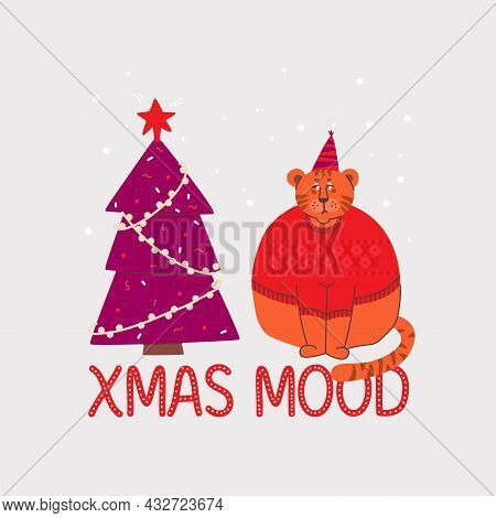 Sad And Grumpy Tiger In A Sweater Looks At Christmas Tree. Lettering Christmas Mood.