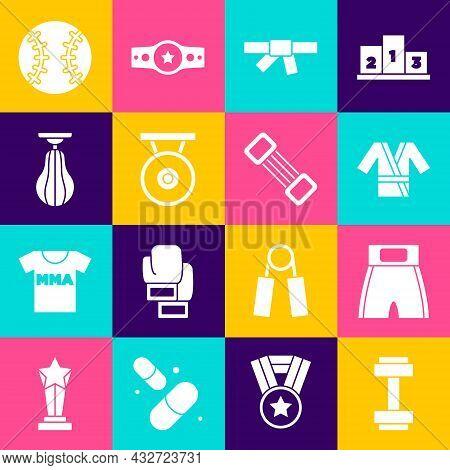 Set Dumbbell, Boxing Short, Japanese Costume Kimono, Black Karate Belt, Gong, Punching Bag, Baseball