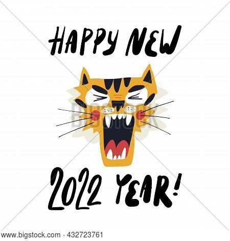 Cute Hand-drawn Tiger, The Symbol Of 2022 Year, Screams Happy New Year. Greeting Card, Banner Design