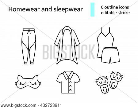 Homewear And Sleepwear Outline Icons Set. Comfortable Clothes. Domestic Suit. Bathrobe, Slippers. Cu