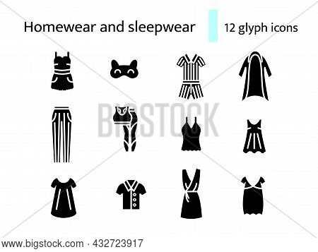 Homewear And Sleepwear Glyph Icons Set. Comfortable Clothes. Comfy Garment. Woman Home Dress. Black