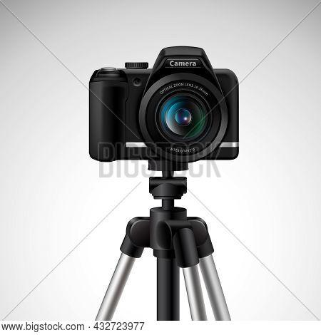 Realistic Digital Photo Camera On Tripod Isolated On White Background Vector Illustration