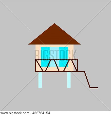 Water Bungalow On Stilt Flat Icon. Maldivian House. Exotic Vacation. Tropical Resort. Color Filled S